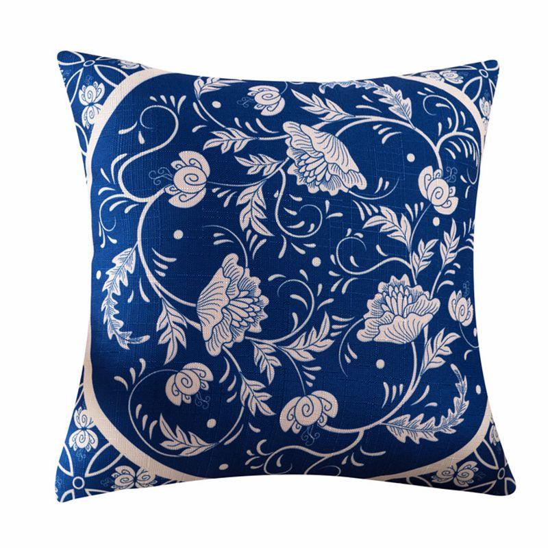 Купить с кэшбэком Chinese Ethnic Style Retro Geometry Flower Pattern Cushion Cover Sofa Chair Back Wholesaler Decorative Linen Pillow Case