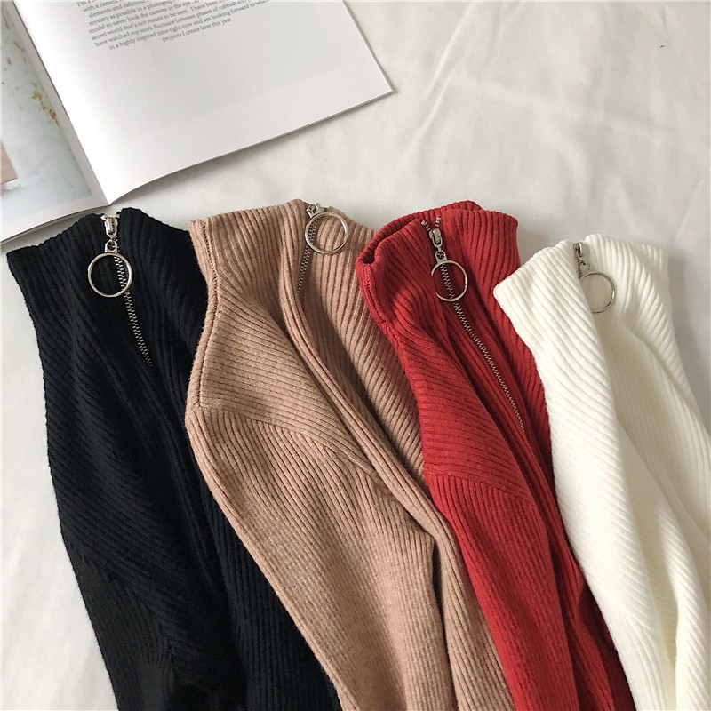 Turtleneck Women Sweater And Pullovers Fall Korean Fashion Autumn Zipper Knitted Sweater Women High Elastic Solid Tops #2