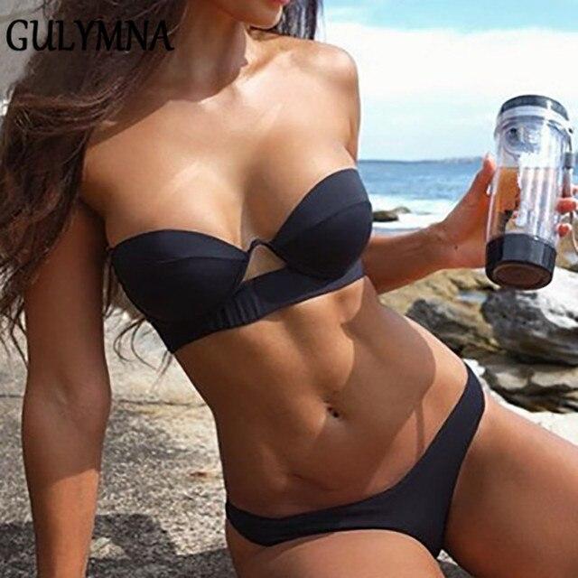 GULYMNA Solid Brazilian Bikini 2019 Mujer Sexy Swimwear Women Swimsuit Female Hard Wrap Push Up Biquini Maillot De Bain femme