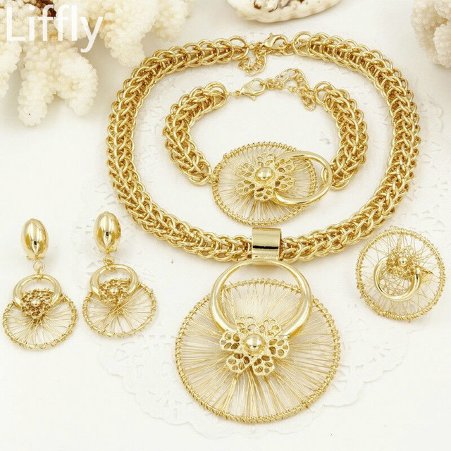 Liffly African Bridal Gift Wedding Dubai Gold Jewelry Sets for Women Fashion Costume Jewelry Big Necklace Bracelet Earrings Set