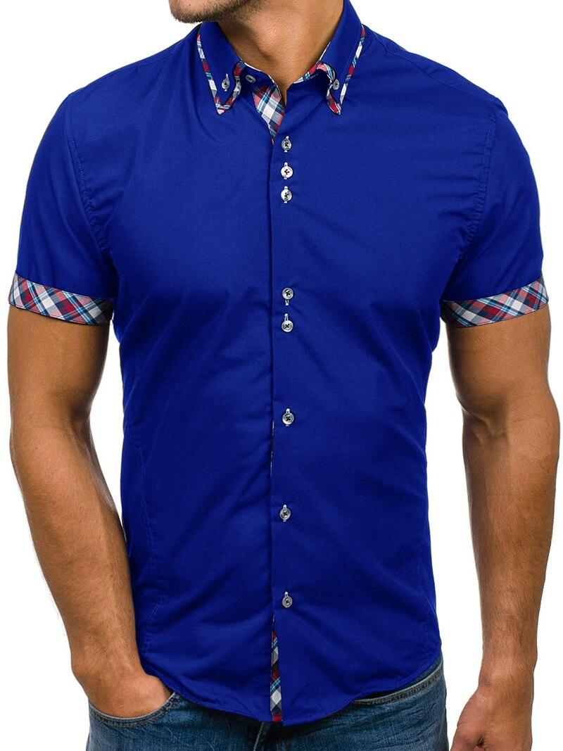 Men Shirts 2018 Summer Fashion Men's Short Sleeve Turn-down Collar 100% Cotton Slim Fit Dress Shirts Male Camisa Masculina