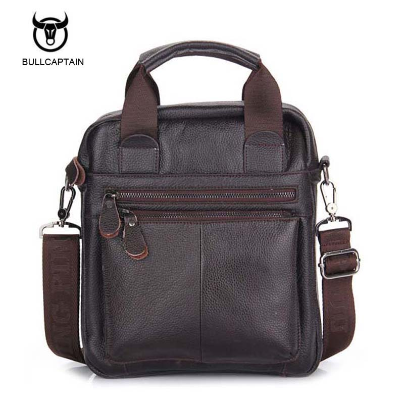 Bullcaptain Men's Genuine Leather Messenger Bag Crossbody Shoulder Bag For Men Business Fashion Casual Travel Bags NB050 casual canvas women men satchel shoulder bags high quality crossbody messenger bags men military travel bag business leisure bag