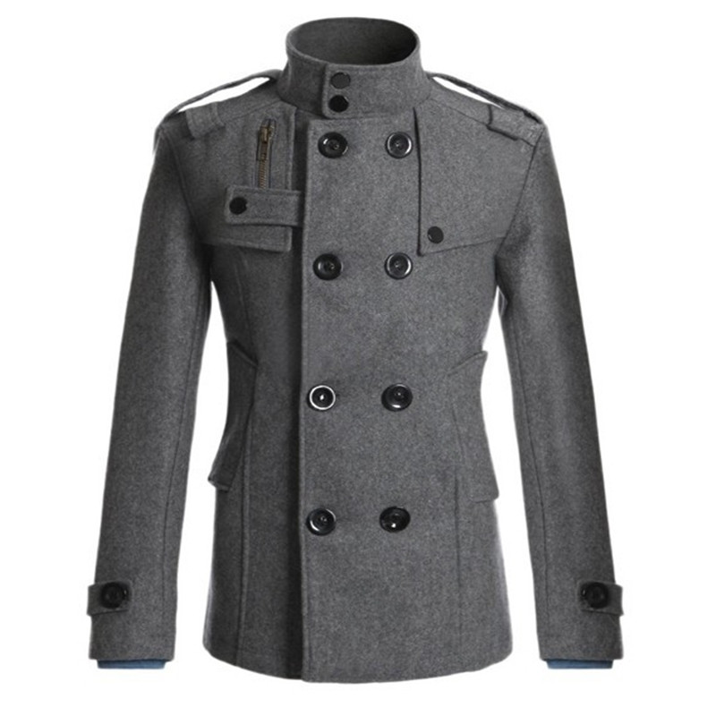 Male Autumn Winter Warm Lapel Long Sleeve Double Breasted Jacket Peacoat Fashion Casual Outwear New Male Wool Coat   Trench