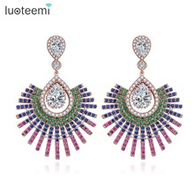 LUOTEEMI 3 Colors Trendy Fashion Shiny Full Multi Zircon Micro Paved Vintage Pendant Drop Earrings For