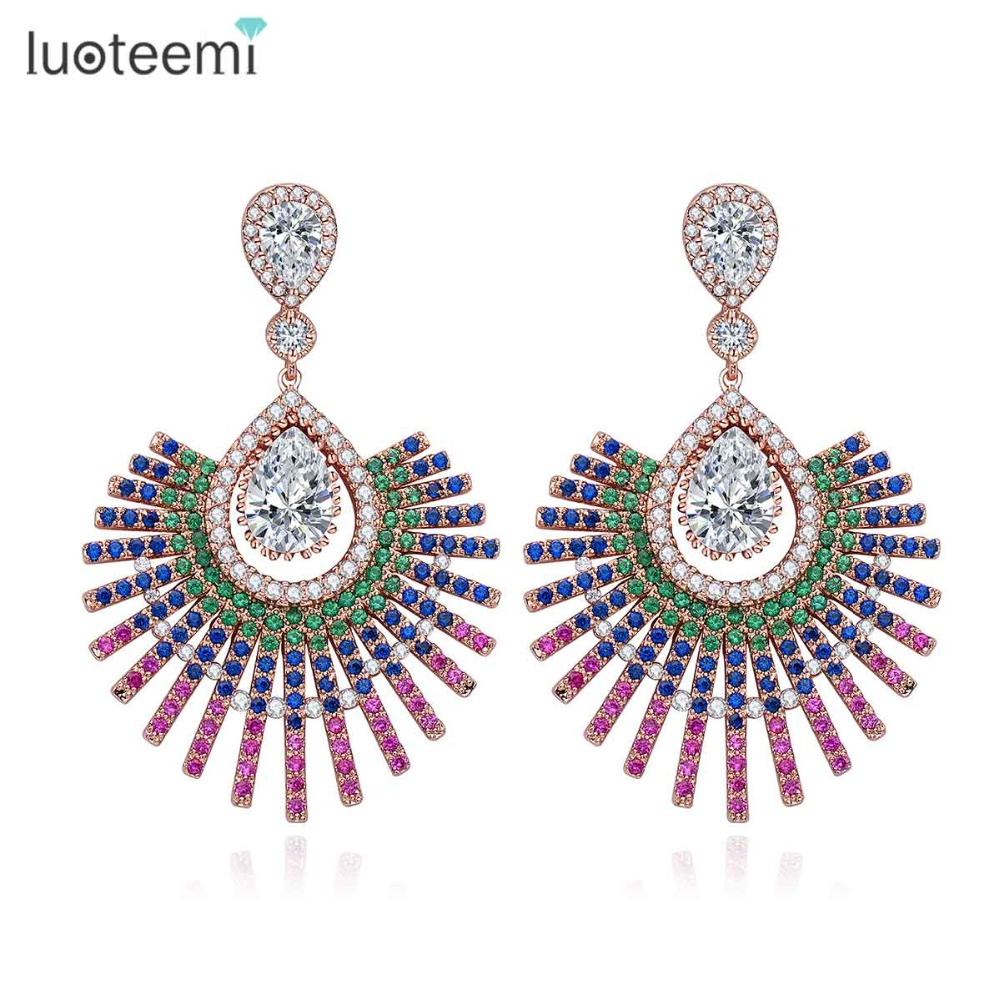 LUOTEEMI 3 Colors font b Trendy b font Fashion Shiny Full Multi Zircon Micro Paved Vintage