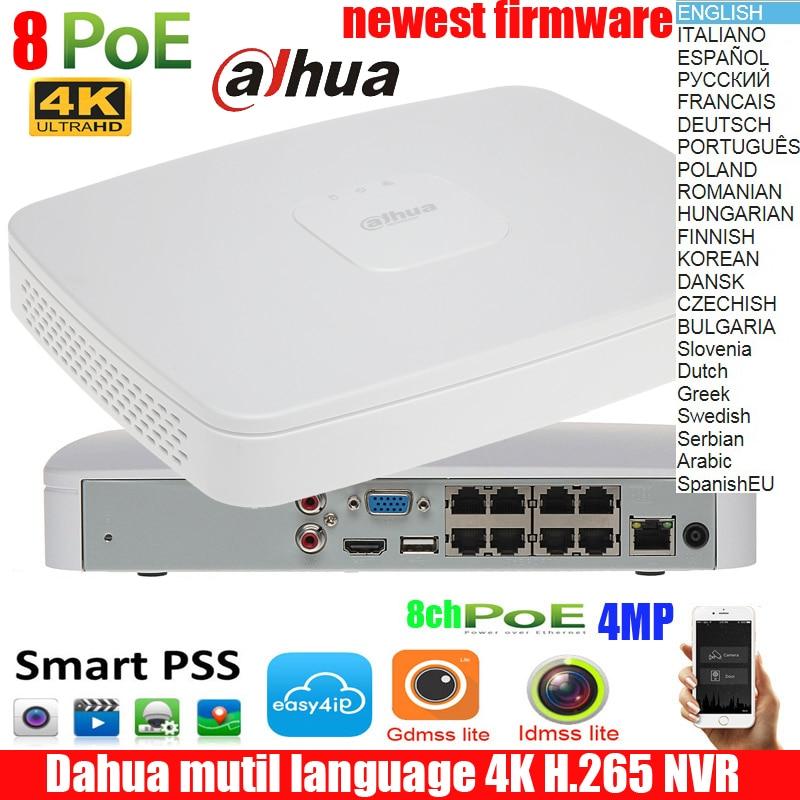 D'origine Multi langue DAHUA POE DHI-NVR4108-8P-4ks2 NVR4108-8P-4KS2 NVR avec 8 ports poe Intelligent 1U Mini NVR 4k h265 Réseau NVR
