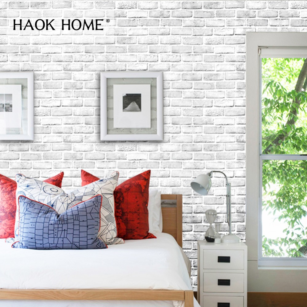 HaokHome 3d Brick Wallpaper Self Adhesive Vintage Peel Stick Contact paper mural White For living room Kitchen Wall DecorationHaokHome 3d Brick Wallpaper Self Adhesive Vintage Peel Stick Contact paper mural White For living room Kitchen Wall Decoration