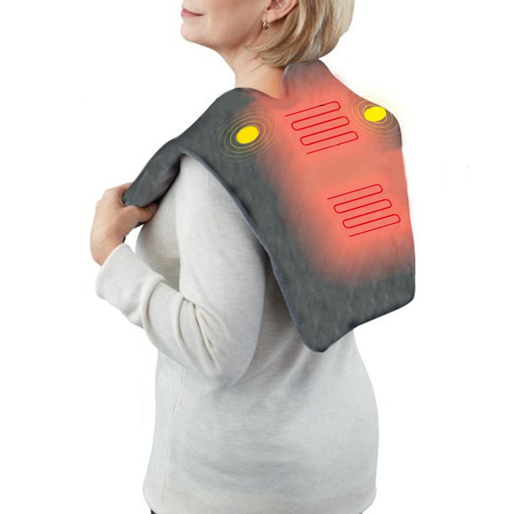 Electric Massager Shawl USB Far infrared Heating Neck/Shoulder Vibrating Therapy Flannel Vibration Heating Pad Circulation