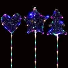 10Pcs 20Inch led balloon heart Star Tree luminous globos balloons helium Ballon birthday party decorations kids