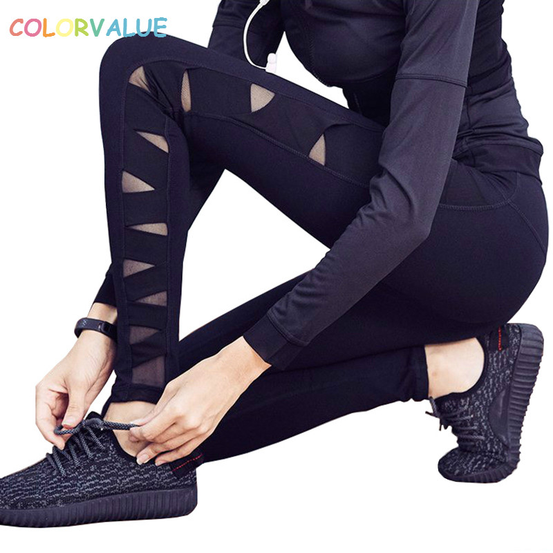 Colorvalue Breathable Workout Fitness Tights Women Side Cross Mesh Sport Jogging Leggings High Waisted Training Gym Yoga Pants