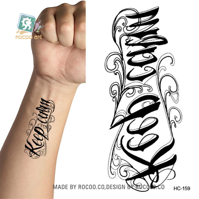 Body Art Sex Products Waterproof Temporary Tattoos Paper For Men And Women 3d Letter Design Small Tattoo Sticker HC1159
