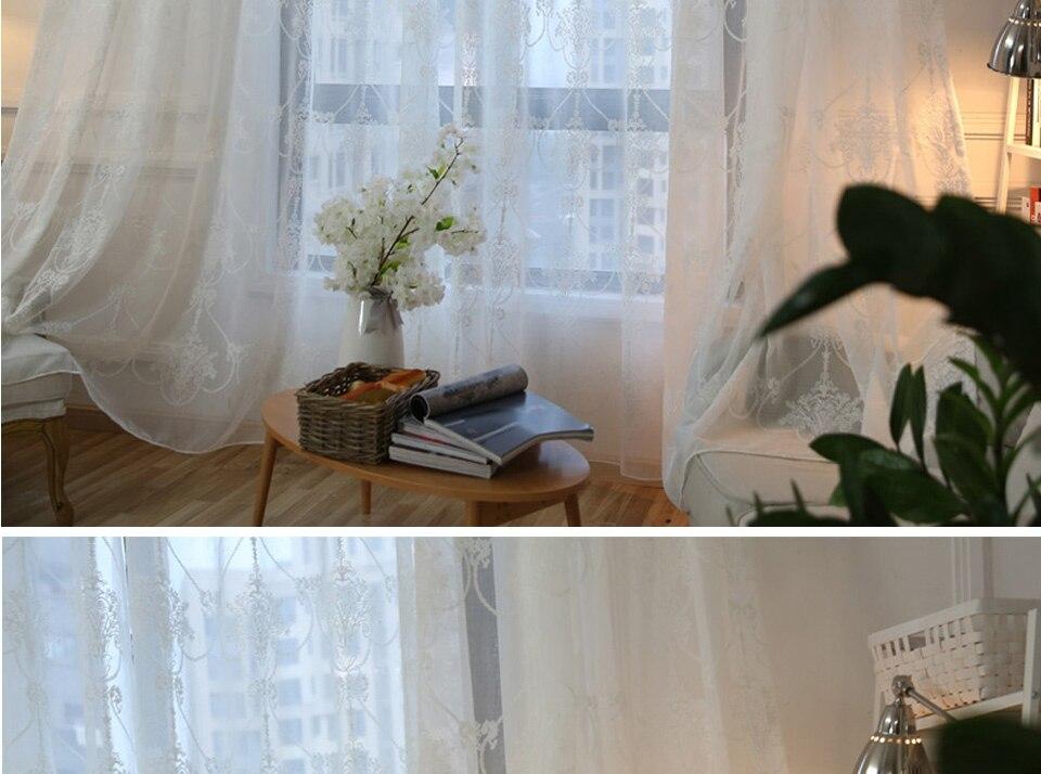 Mrtrees moderne geborduurde vitrages tule gordijnen voor woonkamer