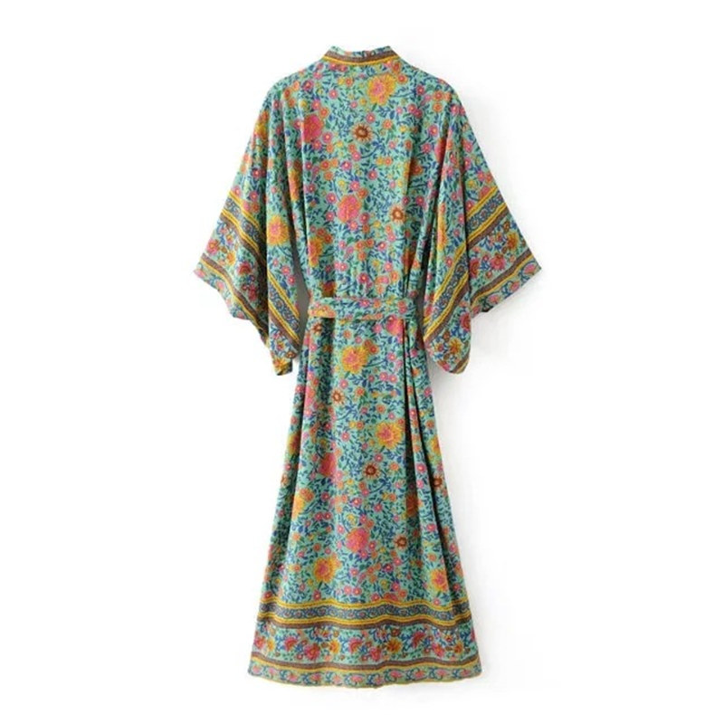 Boho Vintage Floral Print Sashes Long Kimono Shirt Women 2017 New Fashion Cardigan Coat Batwing Sleeve Loose Blouse Femme Blusa