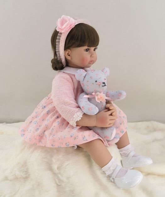 60cm silicona Reborn niña bebé muñeca vinilo realista princesa Rosa juguete con oso cumpleaños regalo edición limitada muñeca-in Muñecas from Juguetes y pasatiempos    3