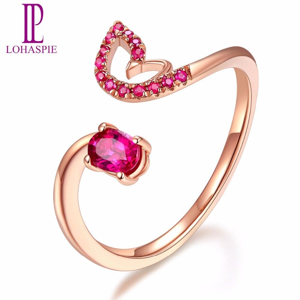 LP solide 18 K Rose paon bagues de fiançailles or naturel pierre gemme rubis bijoux fins pour les femmes en ligne meilleur achat cadeau