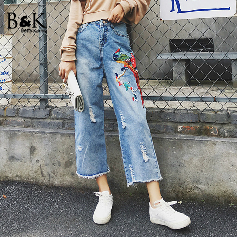 Fashion Wide Leg Pants Embroidered Jeans Woman Casual Cotton Denim Boyfriend Jean Femme Plus Size High Waist Ripped Jeans Women zbaiyh 2017 summer fashion high waist jeans women ripped jean retro boyfriend femme vaqueros mujer plus size jeans denim pants