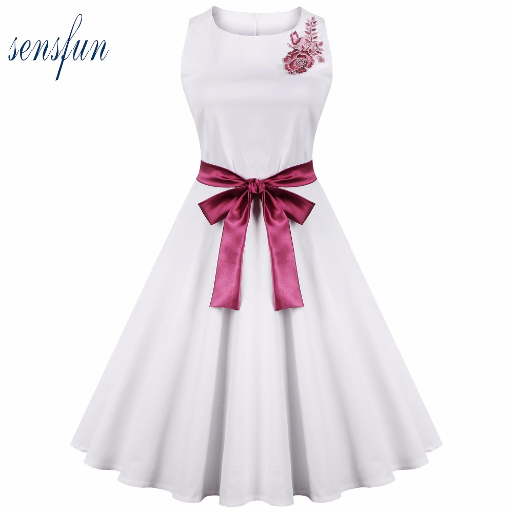 Sensfun Summer Dress Women Cotton 50 60s Hepburn Robe Vintage Dress White Dress Vestidos Retra Party Dresses Sundress With Belt