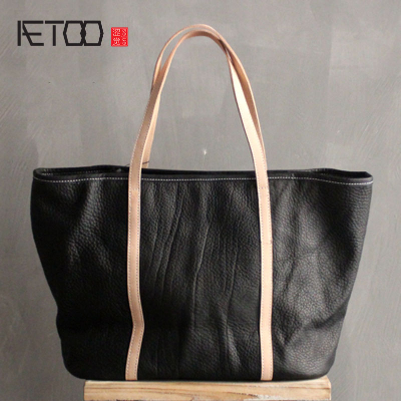AETOO Original leather handbags new first layer of leather simple package fashion hand-held art shoulder bag hand carry Tote bag art of war