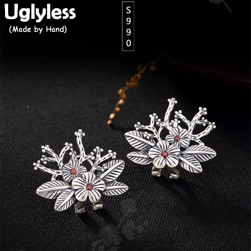 Uglyless Real S 999 Silver Women Fine Jewelry Vintage Engraved Flower Studs Earrings Ethnic Plum Tree Brincos Thai Silver Bijoux