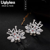 Uglyless Real S 999 Silver Women Fine Jewelry Vintage Engraved Flower Studs Earrings Ethnic Plum Tree Brincos Thai Silver Bijoux