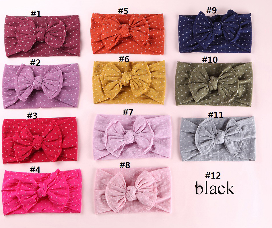 30PC lot Dot Print Nylon Headbands Newborn Knotted Hair Bow Headband Soild Bow Kids Girls Cotton