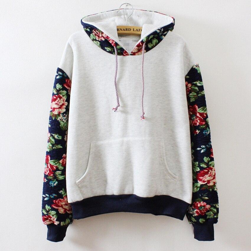 New Retro Flowers Spell Color Long Sleeve Hooded font b Sweatshirt b font font b Women