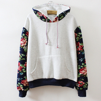 New Retro Pure Color Flowers Long Sleeve Hooded Sweatshirt Women Hoodies Fashion Casual Sports Suit Female