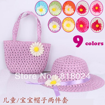 20pcs/lot 9 Colors Free Shipping Paper Straw Baby Girls Flower Sun hat with Bag, Kids Big Brim Summer Sunbonnet Free Shipping