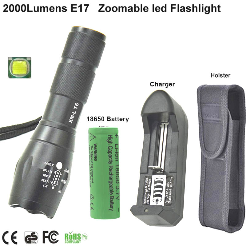 Flashlight XM-L T6 Led Torch Zoomable LED light 5 mode Flash Light For 3xAAA+3.7v 18650 battery+charger+holster cree xm l t6 bicycle light 6000lumens bike light 7modes torch zoomable led flashlight 18650 battery charger bicycle clip