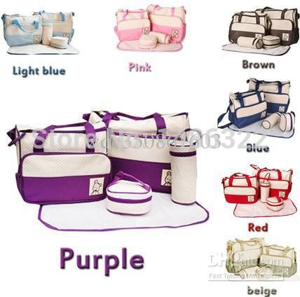 Penghantaran Percuma 7 Warna 5Pcs / Set Baby Diaper Bag Mummy Bags Women Handbag Nappy Tote Shoulder Bag
