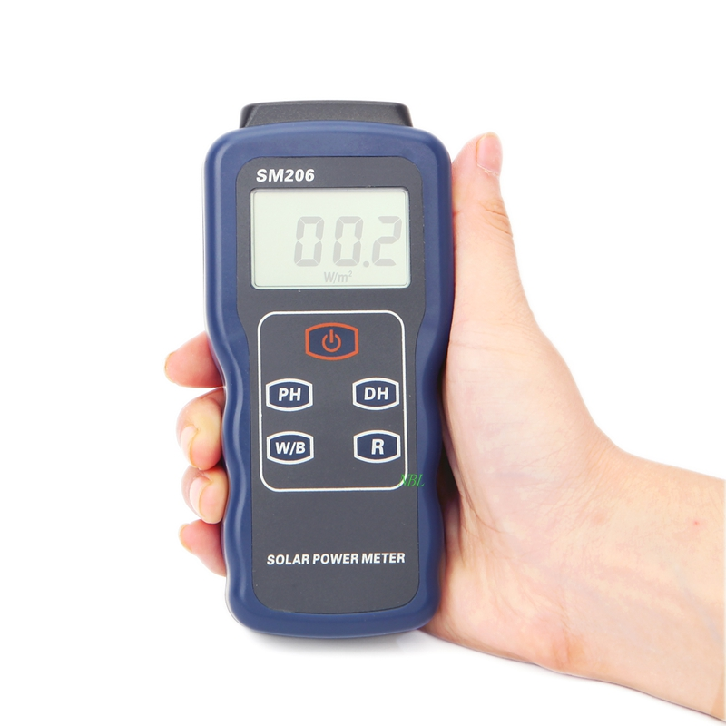 High Precision Solar Power Meter Light Meter Data Hold And Peak Hold For Solar Radiation Tester SM206 Glass Light Intensity g t power 130a 150a rc watt meter power analyzer digital lcd tester 12v 24v 36v high precision