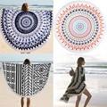 Velvet Printed Round Beach Towel Bath Towels Tassel Geometric Print Summer Women Sandy Swimming Sunbath Baby Blanket Covers Up