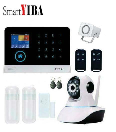 SmartYIBA WIFI APP Control Auto Dialer SMS Alarm System WIFI GSM Security Alarm Network Camera Motion Sensor Door Alarm Kits все цены