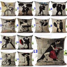 Newspaper Background Decorative Throw Pillows Case Couple Dancing Cotton Linen Cushion Cover For Sofa Bedding funda cojines(China)