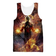 купить Starry Sky Tank Top Men Women Summer style casual Sleeveless vest 3D printing Captain Marvel Vest Cool Tank tops по цене 562.73 рублей