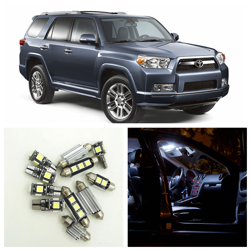 14pcs White LED License Plate Lights Interior Package Kit For 2003-2015 Toyota 4Runner Map Dome Trunk Light Toyota-B-24  цена и фото