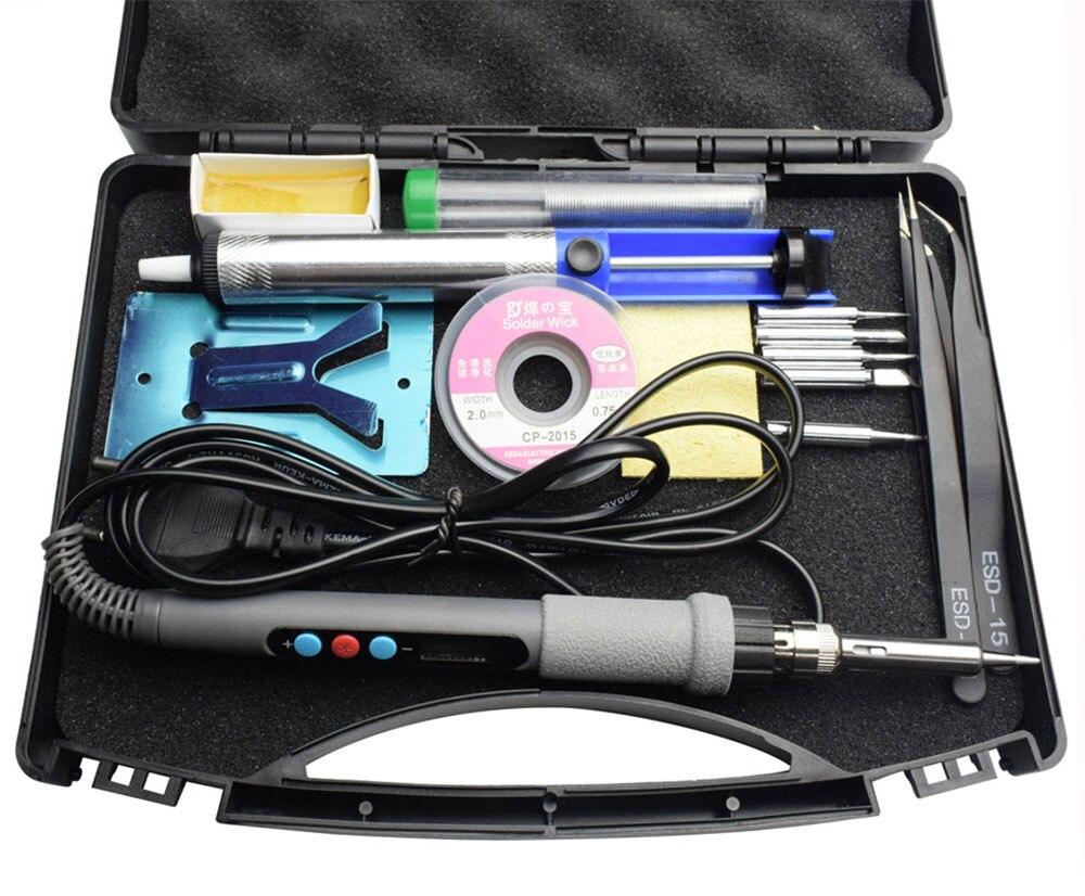 Eruntop Blau 60 watt Digital Display Einstellbar Temperatur Elektrische Lötkolben Schweißen Lötkolben Kit
