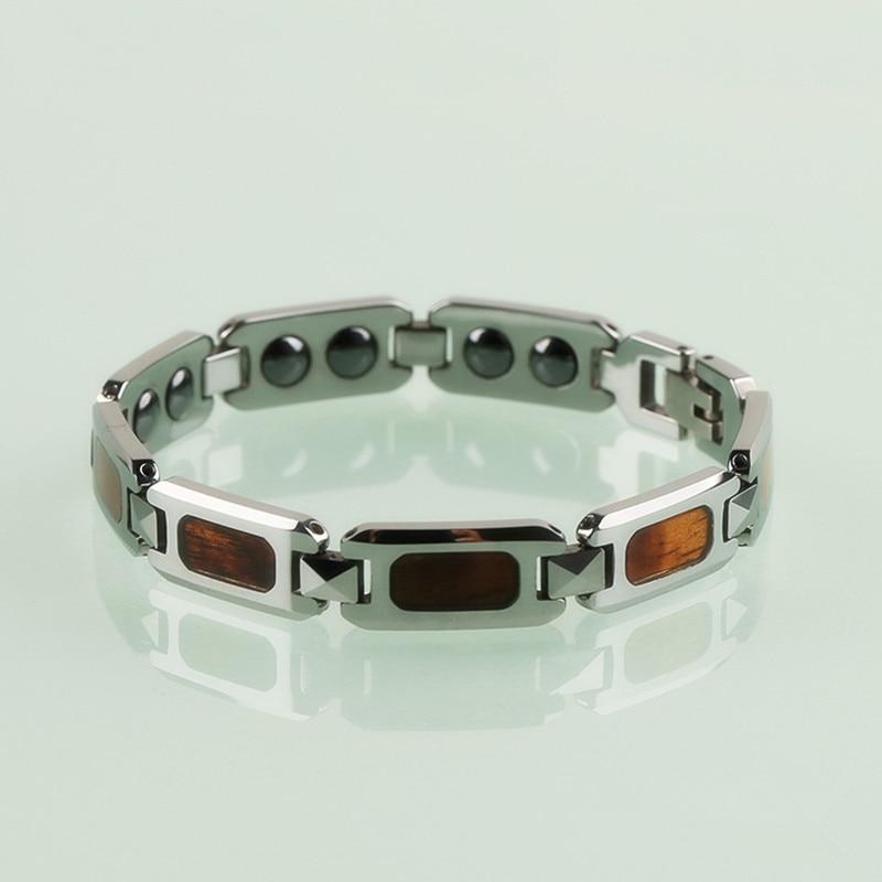 2018 nouveau 10mm largeur hommes tungstène Bracelets Bracelets avec pierres magnétiques incrusté délicat Rectangle Koa bois 21 cm bracelet à breloques
