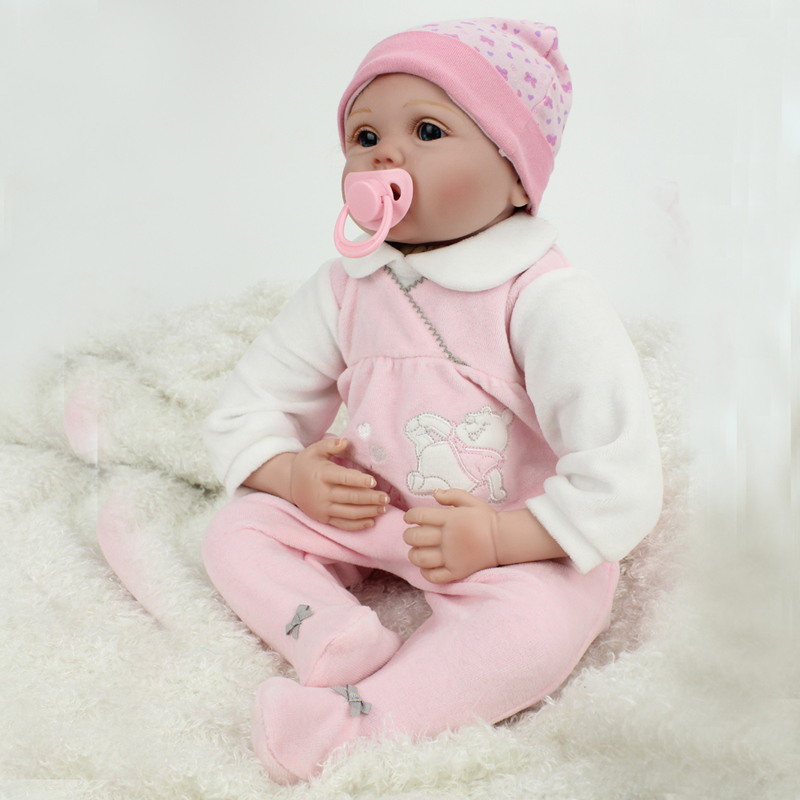 ФОТО 55 cm vinyl doll reborn for girls gift realistic silicone open eyes reborn baby dolls adult children