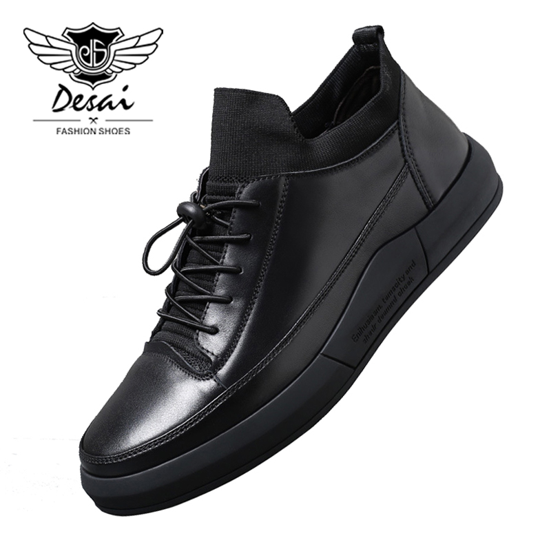 DESAI Brand 2018 New Genuine Leather Shoes Men's Casual Vintage Shoes High Quality Men Flats Shoes Chaussures Richelieu top brand high quality genuine leather casual men shoes cow suede comfortable loafers soft breathable shoes men flats warm
