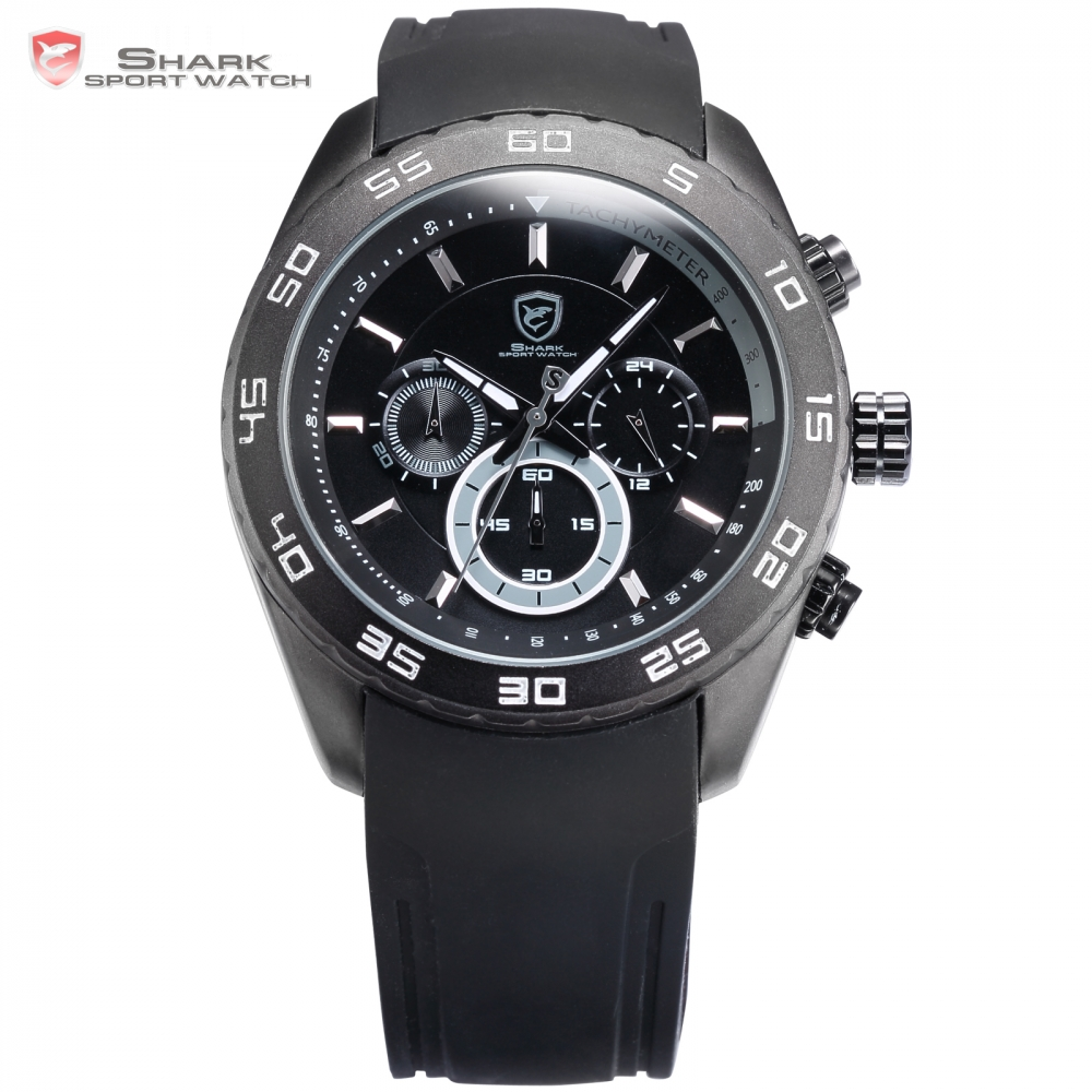 Spinner Shark Sport Watch Fashion Male Clock Black Silicone Band Waterproof Analog 6 Hands Day Men's Hours Quartz Watch/ SH260 goblin shark sport watch 3d logo dual movement waterproof full black analog silicone strap fashion men casual wristwatch sh165