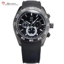 Spinner Shark Sport Montre De Mode Homme Horloge Noir Bande de Silicone Étanche Analogique 6 Mains Jour Hommes Heures de Quartz Montre/SH260