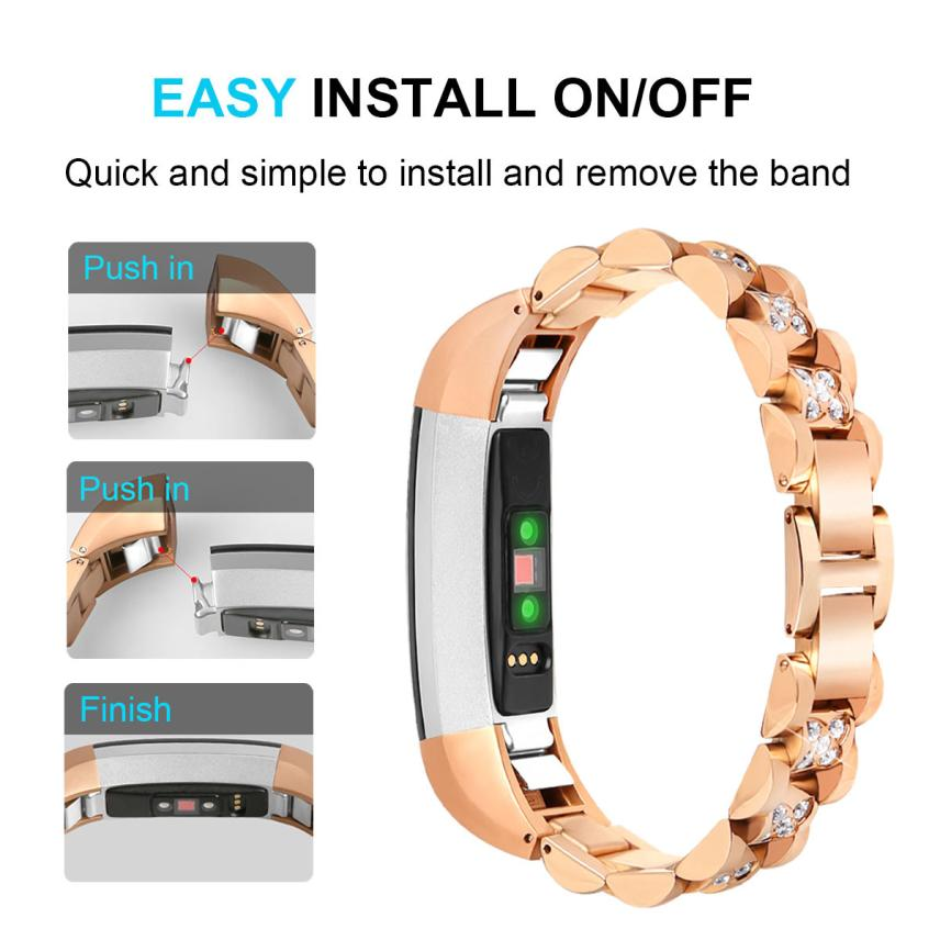 HIPERDEAL Replacement Small Metal Crystal Watch Band Wrist strap For Fitbit Alta HR/Alta 18Apr19 Drop Ship F