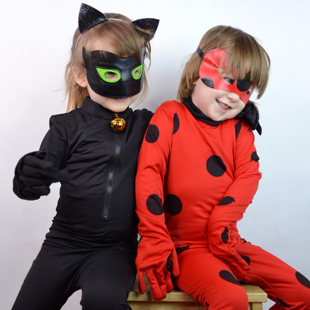 2018 Girls Lady Bug Costume Miraculous Ladybug Jumpsuite Adrien Agreste Black Cat Noir Cat suit Cosplay Kid Halloween Costumes kids miraculous ladybug cat noir cosplay miccostumes costume with mask ladybug black romper bodysuit halloween tight jumpsuit
