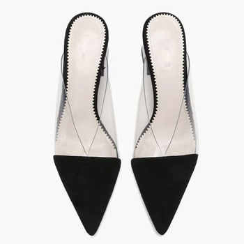 ElisabetTang 2019 Summer Fashion Women Pointed Toe Slipper Square High Heels Outdoors Ladies Slides Sexy Mules Shoes Black Red