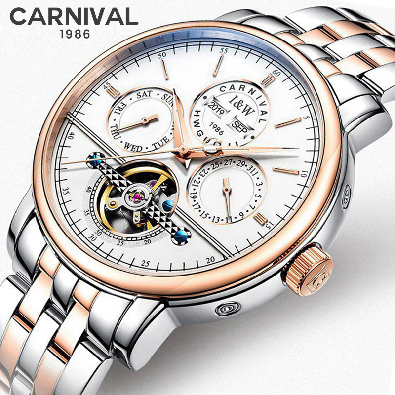Carnival Mens Watches Top Brand Luxury Automatic Mechanical Watch Sapphire Waterproof 316L Stainless steel Tourbillon Male Clock
