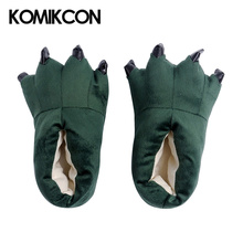 Cute Family Matching shoes Dinosaur Claws Slippers Solid Winter Warm Soft Coral fluffy Home Floor Antiskid Shoes For Adults Kids