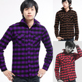 freeshipping Autumn and winter men's clothing preppy style big plaid thickening sanded purple long-sleeve shirt 1509-c07-p35