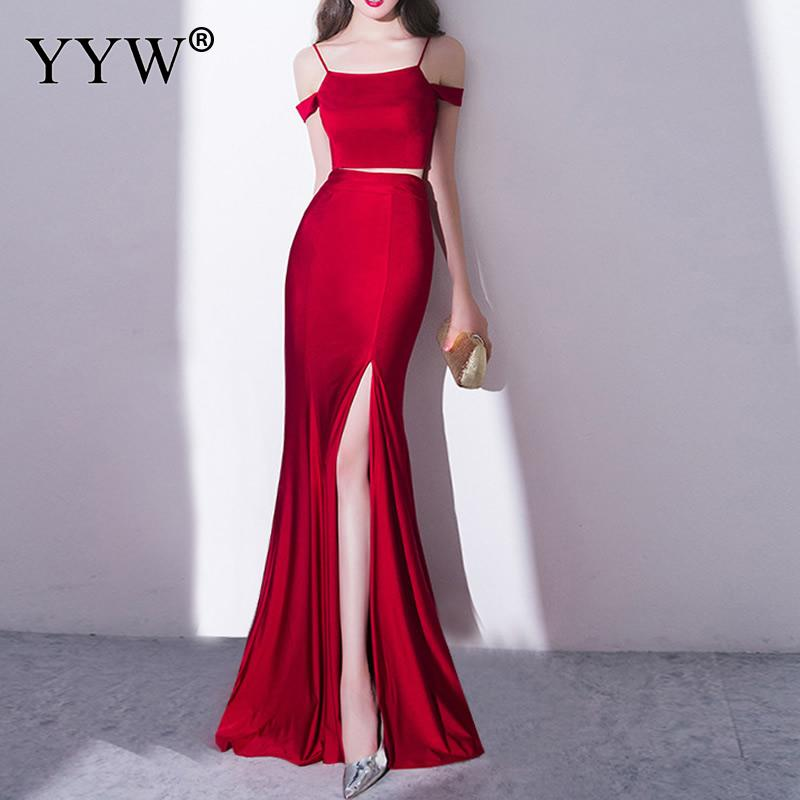 Red Elegant Women Evening Dress Fashion Off The Shoulder Sexy Formal Gowns Front High Slit Slim Long Party Dress Ladies Vestidos