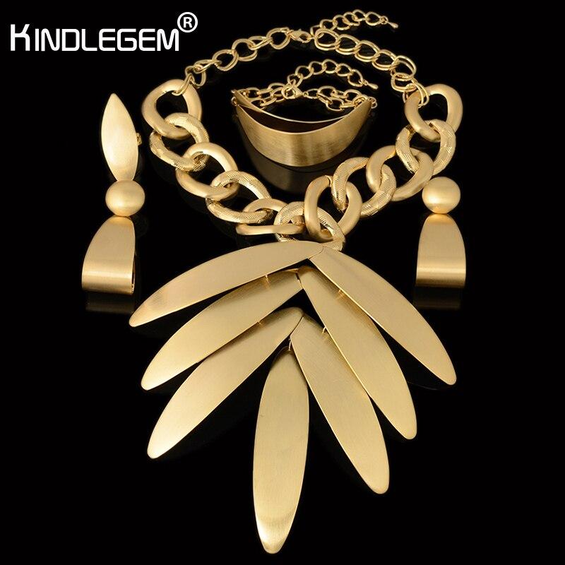 2018 India Jewelry Dubai Gold Jewelry Women Fashion: 2018 High Fashion Big Pendant Necklace Earring Bracelet
